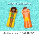 smile woman  man swims  tanning ...   Shutterstock .eps vector #1062485561