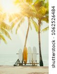 surfboard and palm tree on... | Shutterstock . vector #1062526484