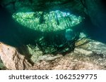 diving at the cenote jardin del ... | Shutterstock . vector #1062529775