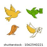 postal bird icon set. color... | Shutterstock .eps vector #1062540221