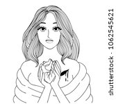 a girl holding and giving heart ...   Shutterstock .eps vector #1062545621