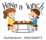 girls are having a lunch... | Shutterstock .eps vector #1062546071