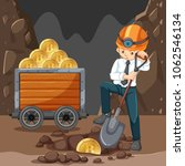 a man doing cryptocoin mining... | Shutterstock .eps vector #1062546134