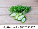 closeup view of bitter gourd... | Shutterstock . vector #1062555557
