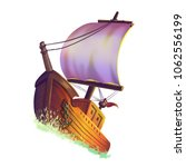 the boat on the sea with... | Shutterstock . vector #1062556199