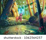 the deer in the forest with... | Shutterstock . vector #1062564257