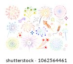 set of doodle firework and... | Shutterstock .eps vector #1062564461