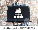 businessman offers laptop with... | Shutterstock . vector #1062584765