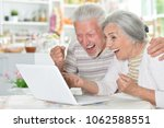 happy senior couple using ... | Shutterstock . vector #1062588551