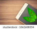 mobile phone and green leaves   ... | Shutterstock . vector #1062608354