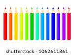 set of bright color pencils on... | Shutterstock .eps vector #1062611861