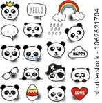 set of colorful doodle panda on ... | Shutterstock .eps vector #1062621704