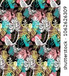 tropical pattern with exotic... | Shutterstock .eps vector #1062626309