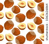 nuts hazelnuts cartoon. vector... | Shutterstock .eps vector #1062626864
