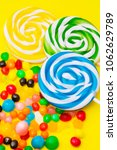 lollipops and colorful candies... | Shutterstock . vector #1062629789