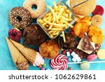 unhealthy products. food bad... | Shutterstock . vector #1062629861
