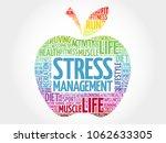 stress management apple word... | Shutterstock . vector #1062633305