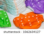stack of disposable diapers or... | Shutterstock . vector #1062634127