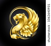 golden heraldic griffin vector... | Shutterstock .eps vector #1062640931