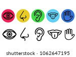 icon set of five human senses.... | Shutterstock .eps vector #1062647195