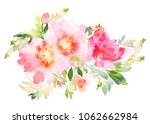 Stock photo watercolor illustration with pink flowers on a white background 1062662984