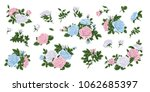big set of pink  blue and white ... | Shutterstock .eps vector #1062685397