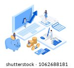 isometric accountant workspace ... | Shutterstock .eps vector #1062688181