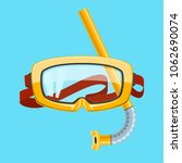 yellow goggles and snorkel... | Shutterstock . vector #1062690074