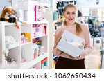 woman buyer  buying gift box... | Shutterstock . vector #1062690434
