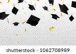 graduate caps and confetti on a ... | Shutterstock .eps vector #1062708989