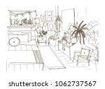 monochrome sketch of... | Shutterstock .eps vector #1062737567