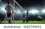 soccer game moment  on... | Shutterstock . vector #1062739421