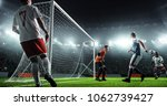 soccer game moment  on... | Shutterstock . vector #1062739427