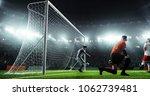 soccer game moment  on... | Shutterstock . vector #1062739481