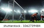 soccer game moment  on... | Shutterstock . vector #1062739484