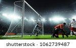 soccer game moment  on... | Shutterstock . vector #1062739487