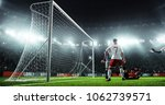 soccer game moment  on... | Shutterstock . vector #1062739571