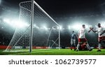soccer game moment  on... | Shutterstock . vector #1062739577