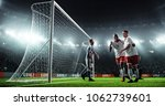 soccer game moment  on... | Shutterstock . vector #1062739601