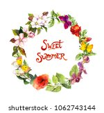 floral wreath with meadow... | Shutterstock . vector #1062743144