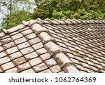 old weather beaten ceramic gray ...   Shutterstock . vector #1062764369