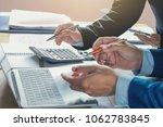 accountant team meeting in... | Shutterstock . vector #1062783845