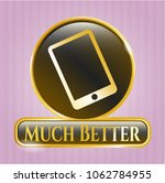 gold emblem with mobile phone... | Shutterstock .eps vector #1062784955
