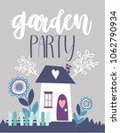 garden party invitation card | Shutterstock .eps vector #1062790934