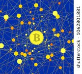 vector set of yellow bitcoin... | Shutterstock .eps vector #1062801881