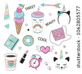 fashion patch badges with girl... | Shutterstock .eps vector #1062805577
