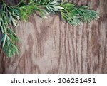 leaves on the old wooden... | Shutterstock . vector #106281491