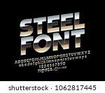 vector steel font. realistic... | Shutterstock .eps vector #1062817445
