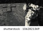 Grave With Cross And Rose...
