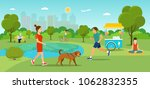 girl is walking with a dog.... | Shutterstock .eps vector #1062832355